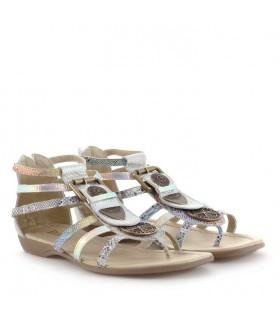 Sandalias en plata combinadas en reptil