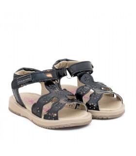 Sandalias de charol negro*