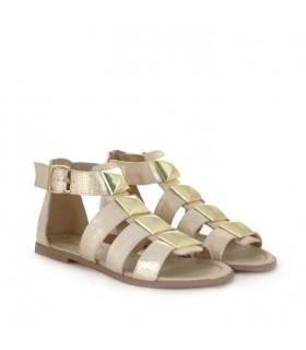 Sandalias de cuero en oro*