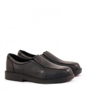 Zapatos náuticos colegiales escolares varón de cuero negro