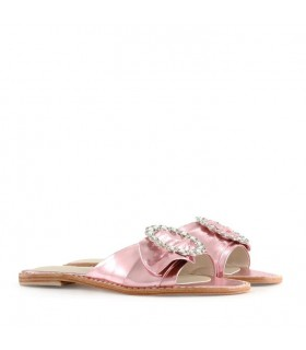 Sandalias de cuero en metal rosa