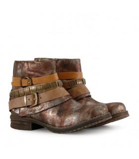 Botas cortas de cuero en bronce