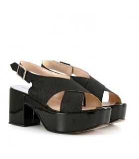 Sandalias de gliter en negro