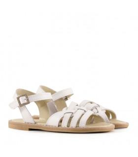 Sandalias para nenas de cuero blanco