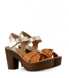 Sandalias de cuero en suela combinado con metalizado