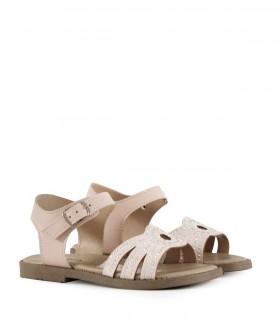 Sandalias de símil cuero con brillo en beige