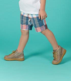 Zapatillas botitas de cuero en visón