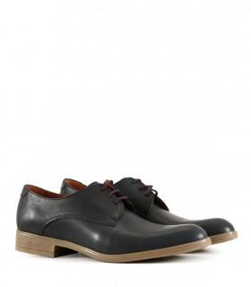 Zapatos clásicos de cuero azul acordonados