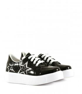 Zapatillas de charol negro con plata