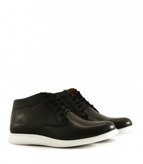 Zapatos abotinados de cuero negro