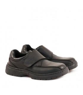 Zapatos colegiales de cuero negro con abrojo del 34 al 40