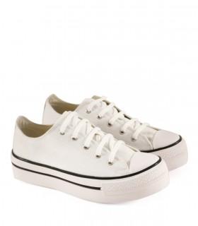 Zapatillas con plataforma de lona en blanco