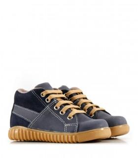 Zapatillas botitas de cuero en azul
