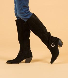 Botas altas de gamuza en negro