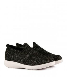 Zapatillas de tela elastizada en negro/plata