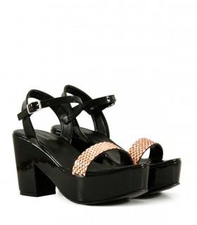 Sandalias de fiesta en charol negro combinado