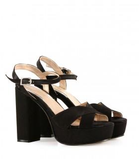 Sandalias de fiesta taco alto en raso negro