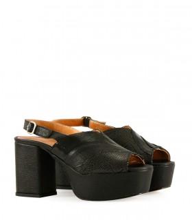 Sandalias de fiesta en cuero negro combinado