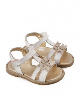 Sandalias de nena en cuero blanco