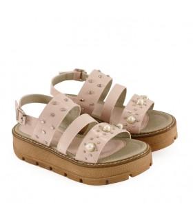 Sandalias de símil cuero para nenas en nude