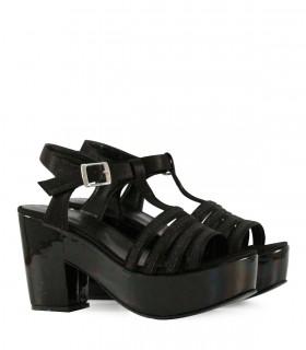 Sandalias de fiesta forradas en tela negra