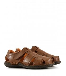 Sandalias de cuero en habano con velcro