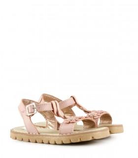 Sandalias bajas de cuero con flores en rosa