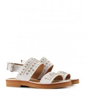 Sandalias planas de cuero blanco