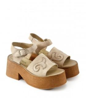 Sandalias con recortes en cuero arena/gris