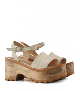 Sandalias base de cuero panna