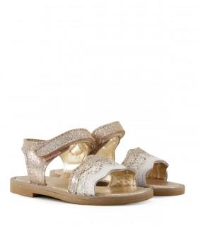 Sandalias de cuero en platino con brillos