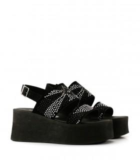 Sandalias base de gamuza en negro