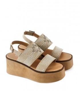 Sandalias base de gamuza en natural
