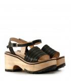 Sandalias base de cuero negro