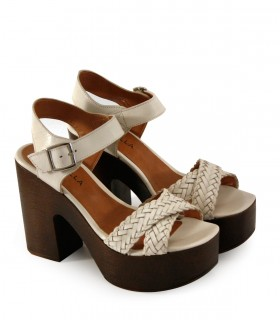 Sandalias con plataforma de cuero panna