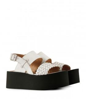 Sandalias bases de cuero blanco trenzado