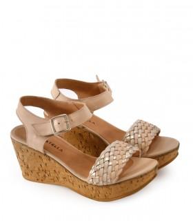 Sandalias de cuero trenzado en nude/natural