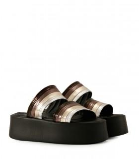 Bases de cuero metalizado en negro/peltre/plata