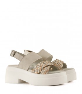 Sandalias base de cuero tiza/nude/oro