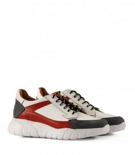 Zapatillas urbanas de cuero rojo/bco/azul