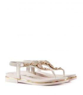 Sandalias de símil cuero en blanco