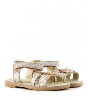 Sandalias de nena en cuero en platino