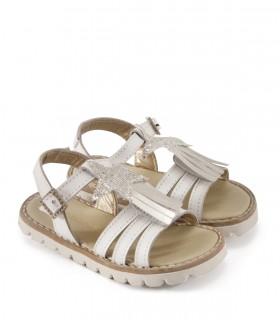 Sandalias de nena en cuero en blanco