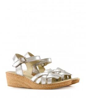 Sandalias de cuero en plata