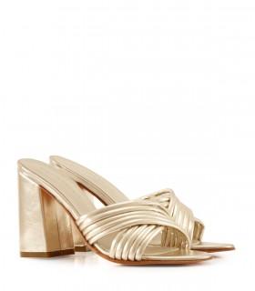 Sandalias de cuero en platino