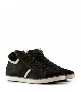 Zapatillas de descarne gamuzado en negro