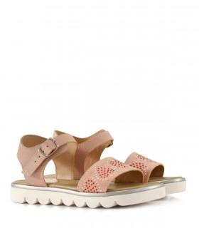 Sandalias bajas de  símil cuero en rosa
