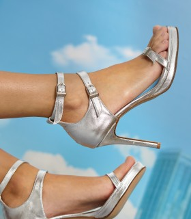 Sandalias de fiesta en cuero en plata