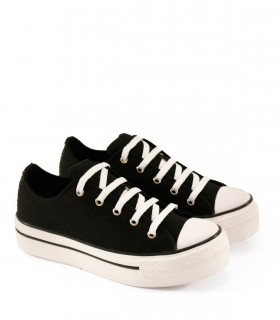 Zapatillas con plataforma de lona en negro