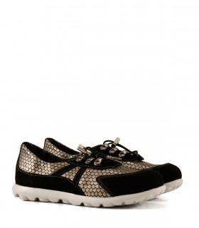 Zapatillas de cuero en negro/plata
